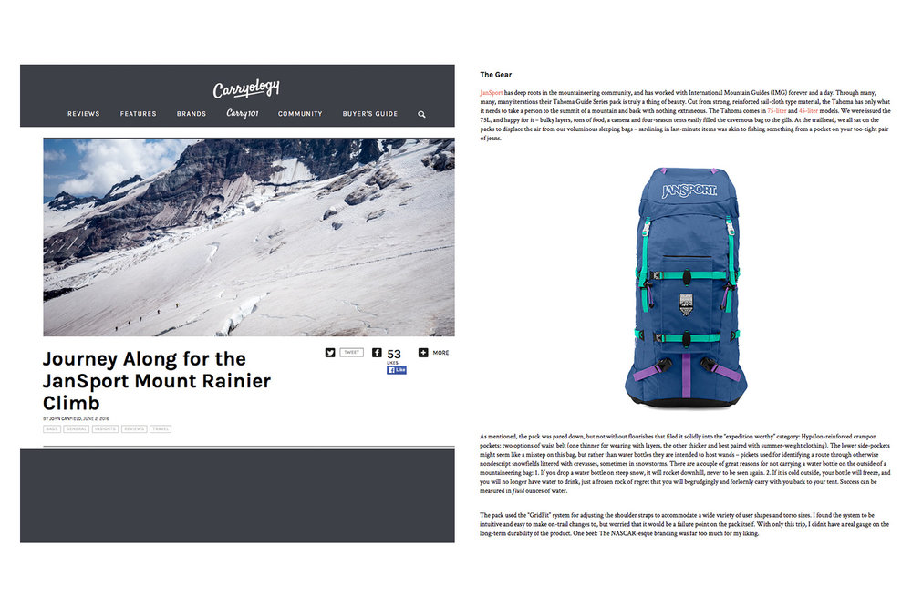 The annual Jansport Mount Rainier climb and the IMG Tahoma backpack was featured in a Carryology article.