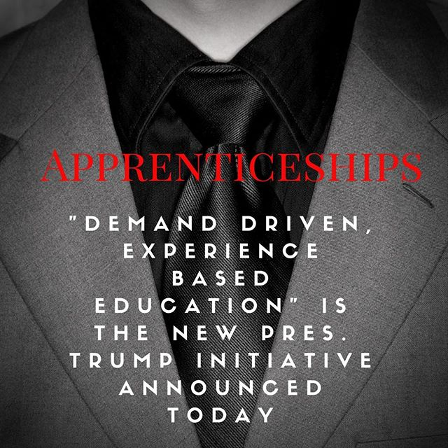 The Trump administration just announced this initiative in a press conference this afternoon, so there will be much more to discover about the details. GoodWorkSense .org will follow this story and keep you posted. #work #jobs #apprenticeships #workforcedevelopment  #staytuned