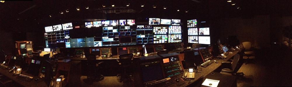 A panorama of the CNN programming room.