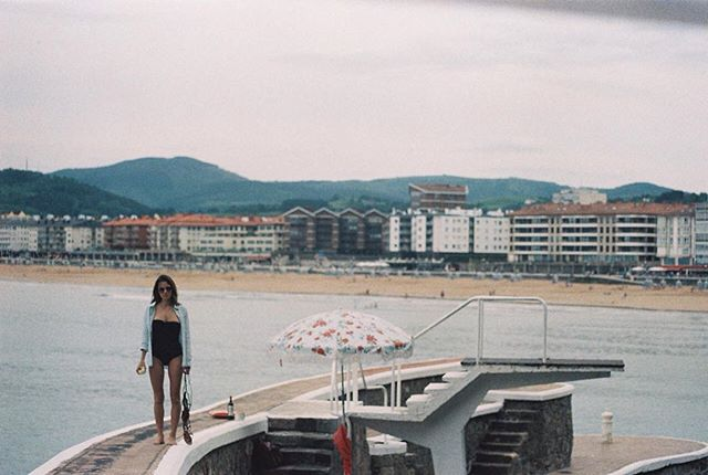 Ma' babe and a #boutiquebrollies in very cool little corner of northern Spain. #35mmfilm @boutiquebrollies