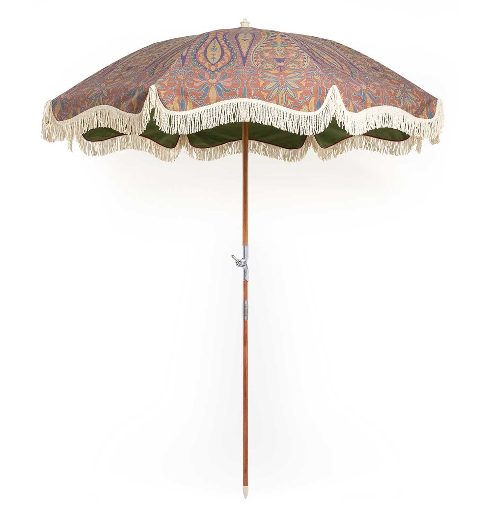 The Cashmere vintage style paisley beach umbrella