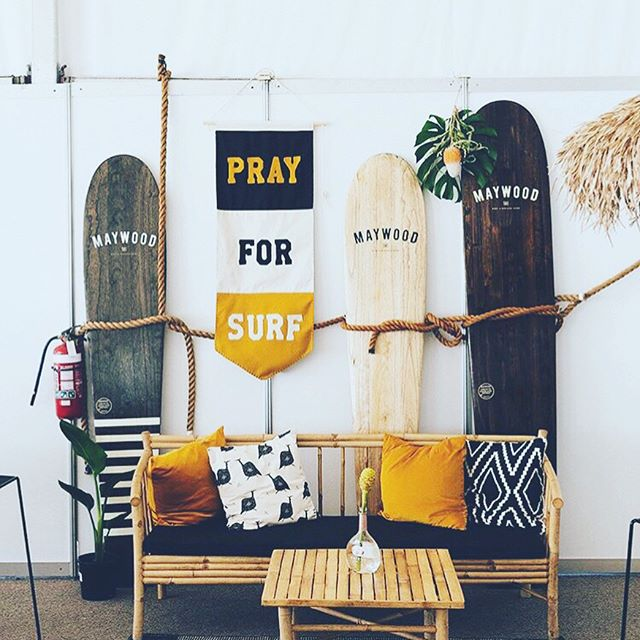 Arts and crafts at the shop of late including some wall art for the @wsl #snapper competitors lounge and a few of our waxed canvas board bag samples. The board bags are getting huge interest and should be available in store and online before the end of March!