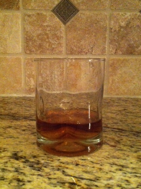 Step 1: Pour the desired amount of single malt or bourbon.