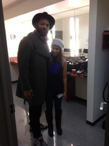 On set with Seahawk Michael Bennett in the makeup room