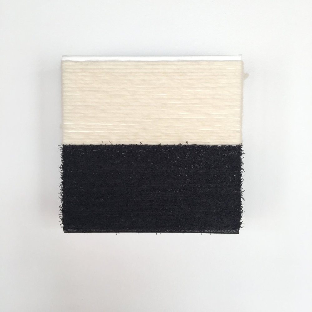 observing multiculturalism - it is possible to eradicate  feelings of superiority and inferiority.  2019  wool, cotton, wall paint on canvas  12 x 12 in.