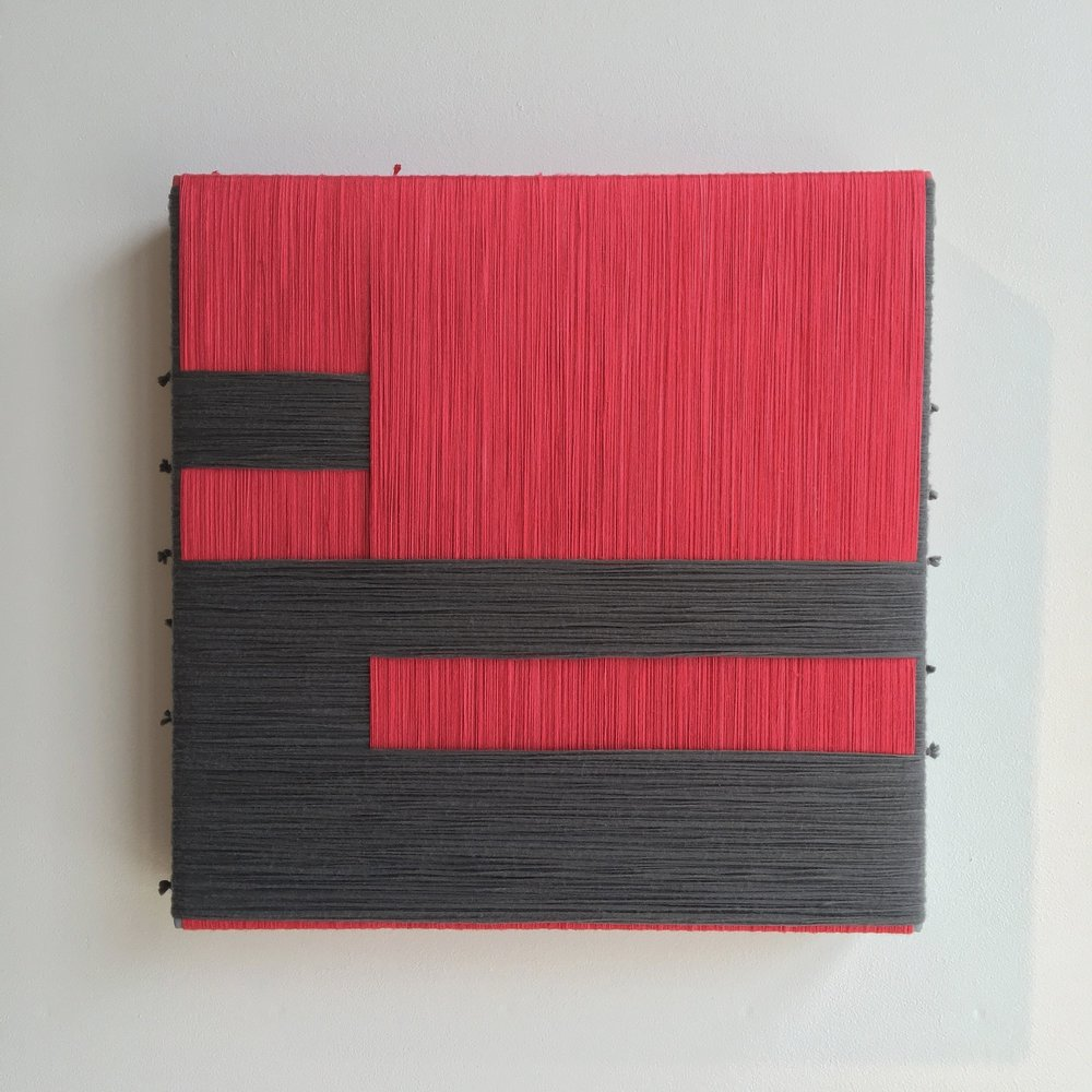 observing multiculturalism - bleeding in and out.  2019  silk, wool, nylon on canvas  24 x 24 in.