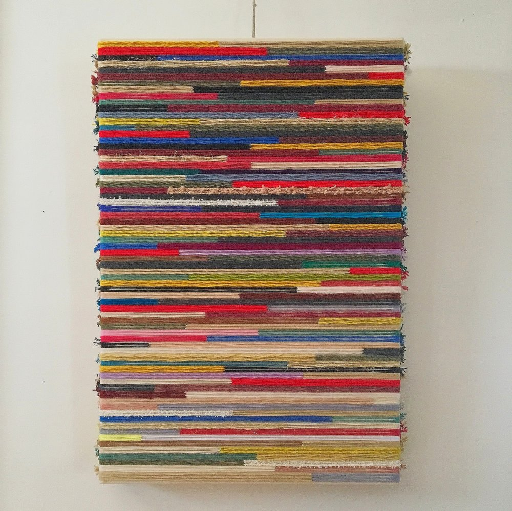 Valdivia 1960  2018  wool, silk, cotton, rope, synthetic fibers on canvas  36 x 24 in.