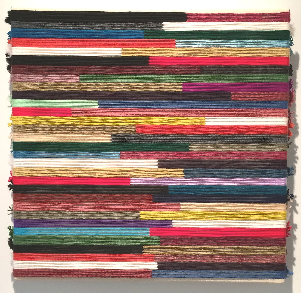 epicentro  2015  raw Mexican wool, Iranian wool, Peruvian wool, cotton, synthetic fibers on canvas  24 x 24 in.