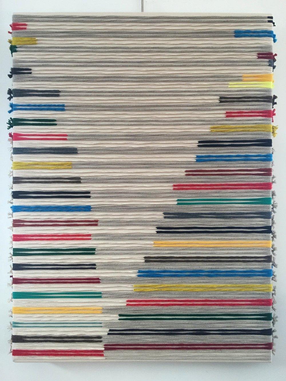 Mid-Atlantic Ridge  2019  wool, cotton, silk, synthetic fibers on canvas  48 x 36 in.
