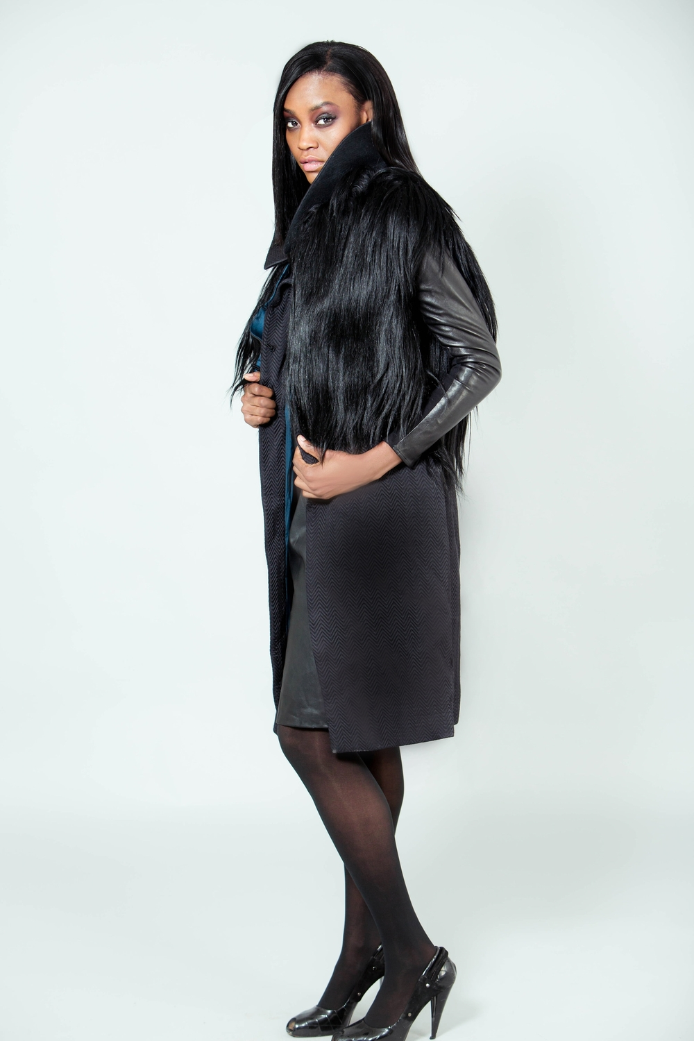 """Mechelle"" Silk Wool Chevron Trench Coat with Leather/Knit Sleeve & Black Goat Vest"
