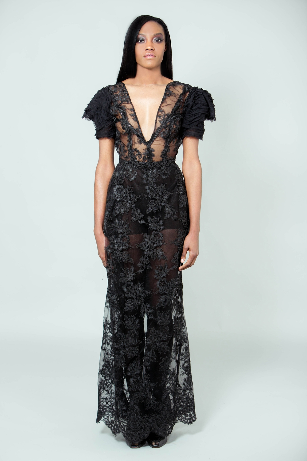 """Madame"" Floral Lace Gown w. Ruffled Tulle Tiered sleeves"