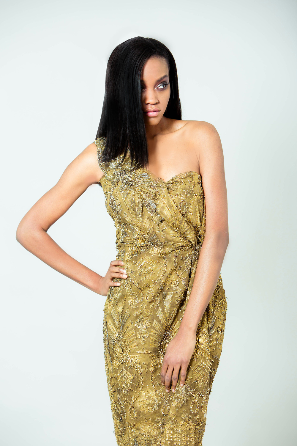 """Tinsley"" Gold Beaded One Shoulder Cocktail Dress"