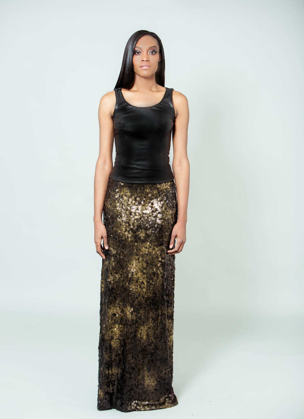 front leather tank and sequin maxi skirt.jpg