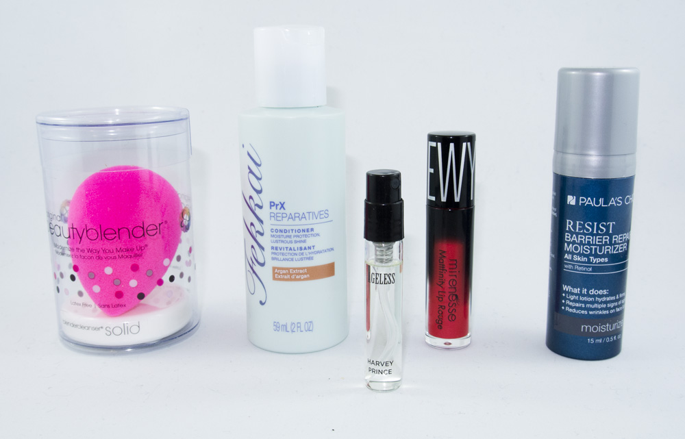 Beautyblender, Fekkai Conditioner, Harvey Prince Ageless, Mirenesse Lip Rouge, Paula's Choice Moisturizer
