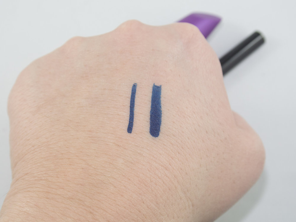 COVERGIRL Intensify Me Eyeliner in Sapphire with the broad and tapered strokes.