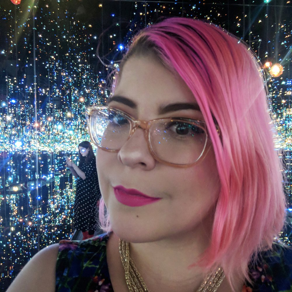 Selfie time in  Infinity Mirrored Room – The Souls of Millions of Light Years Away , 2013.