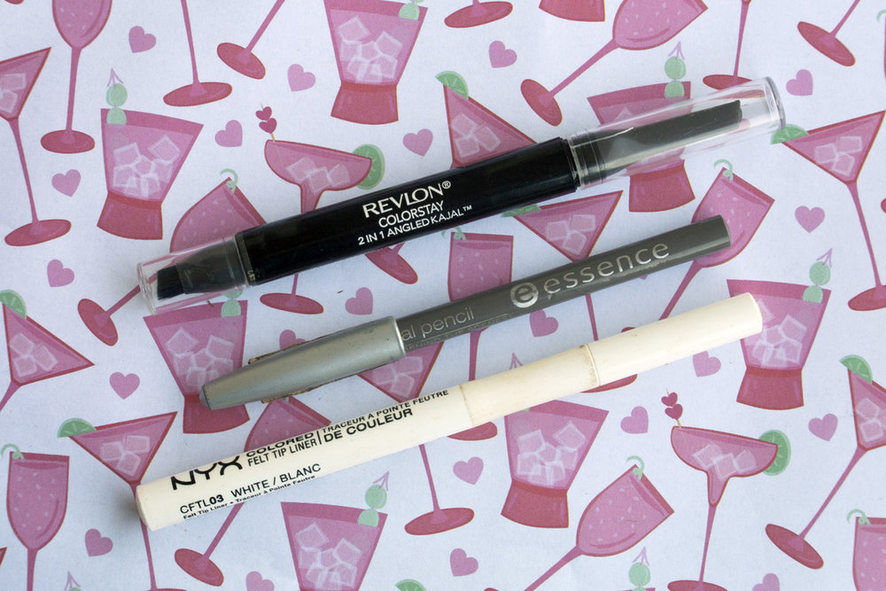Revlon Colorstay Kajal, Essence Kajal Pencil & NYX Colored Felt Tip Liner