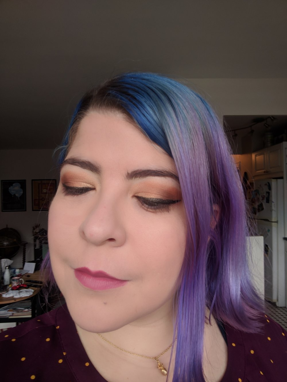 Too Faced Peanut Butter & Jelly Palette, Too Faced Sugarbomb Blush, Charlotte Tilbury Secret Salma Lipstick