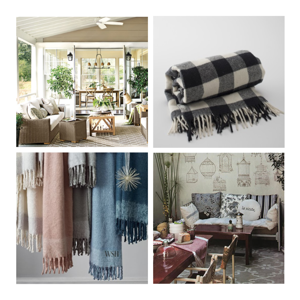 Indoor/Outdoor Living Inspiration from Ballard Designs  //  Buffalo Plaid Throw from Schoolhouse Electric  //  Stenciled Patio Inspiration via Mr. Kate  //  Cozy Texture Throw from West Elm