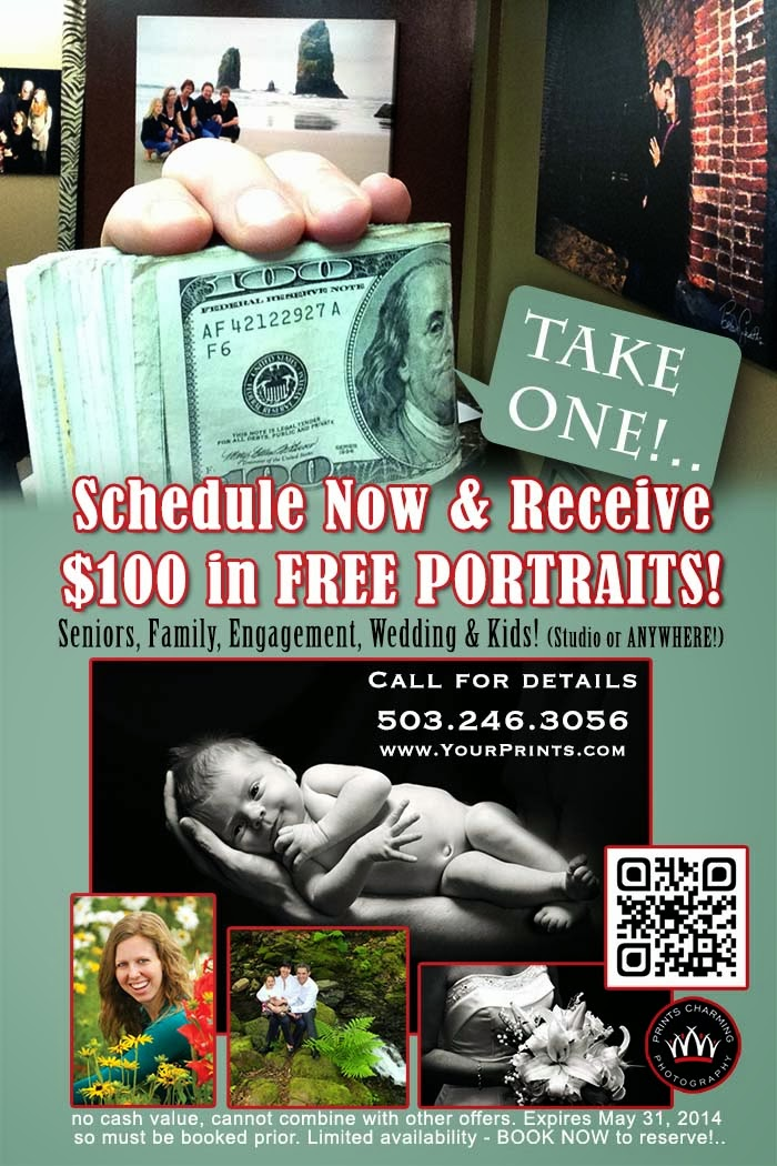 Just to make sure it's affordable for you to jump in your own, we're giving you $100 toward ANY portrait service! (and you don't even need to print/bring this in - just mention the deal when you book BEFORE May 31, 2014 and it's yours!)      Call for details.