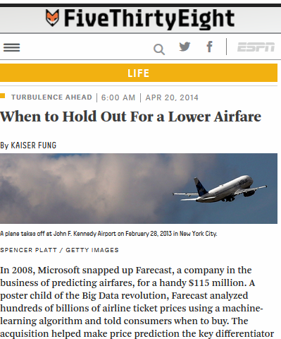 Evaluating Airfare Predictors, FiveThirtyEight, Apr 2014