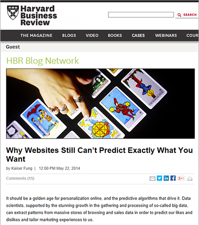 Why Websites Still Can't Predict Exactly What You Want, HBR, May 2014