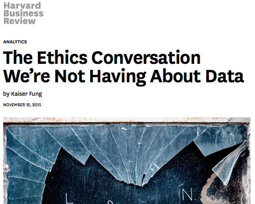 Ethics in Data Science, HBR, Nov 2015