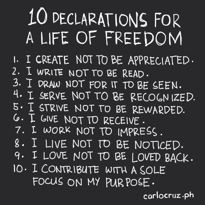 10 declarations for a life of freedom