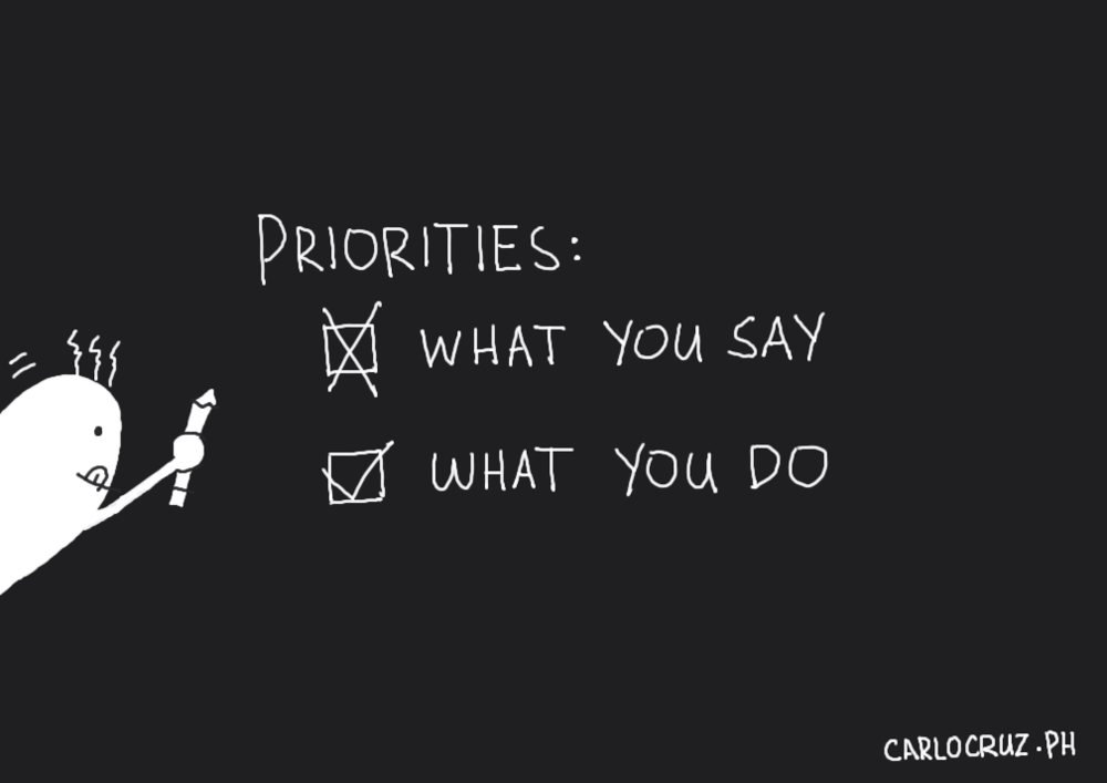 your priority is what you do not what you say