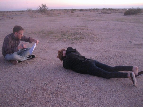 Jason & Roxie filming the last scene of  B.Y.O.B.B.Q.  Photo: Rena Kosnett.