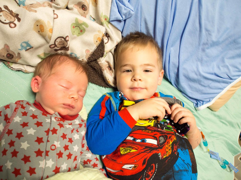 Brothers! I think this was the first smile Jonathan managed to coax out of him.