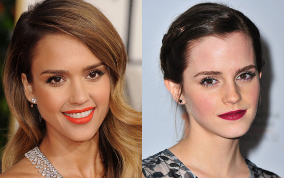 Get these bold lip looks with a P299 lipstick! (Jessica Alba's photo from wsgn.com and Emma Watson's photo is from allure.com)