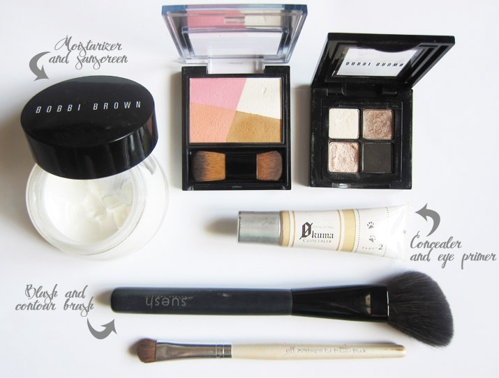 My overnight makeup kit sans lipstick. I chose items that could double up in function to save space.