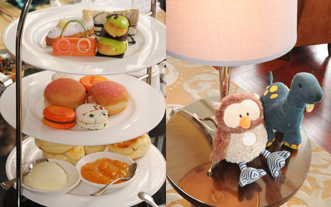 (Left) Sweet pastries, those scones were delish! (Right) Cute stuffed toys from Rustan's as decor