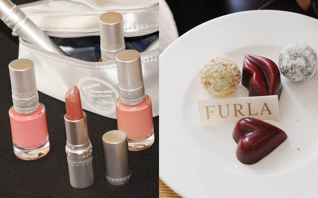 (Left) Treats from T. Le Clerc and (Right) Pralines and chocolate truffles from Furla's Afternoon Tea at Raffles Makati