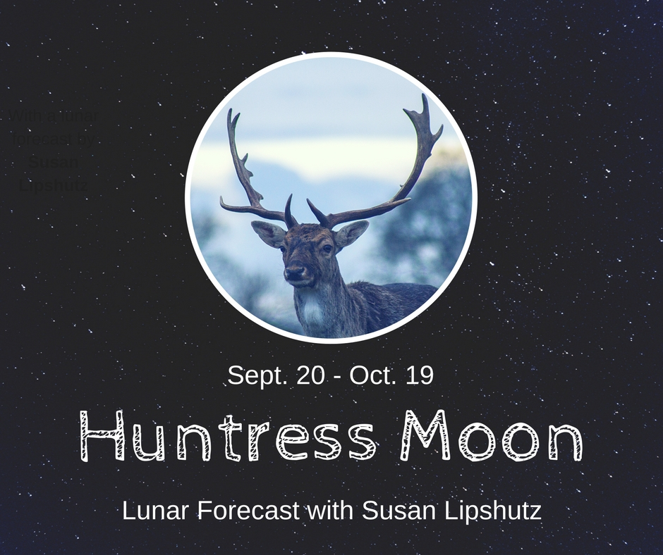 Huntress Moon - A lunar forecast for September 20 - October 19th, 2017 by Susan Lipshutz featuring tips and practices for working with the energies of the month.