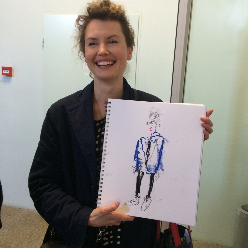 The great fashion illustrator Cecilia Carlstedt holding a drawing I made of her