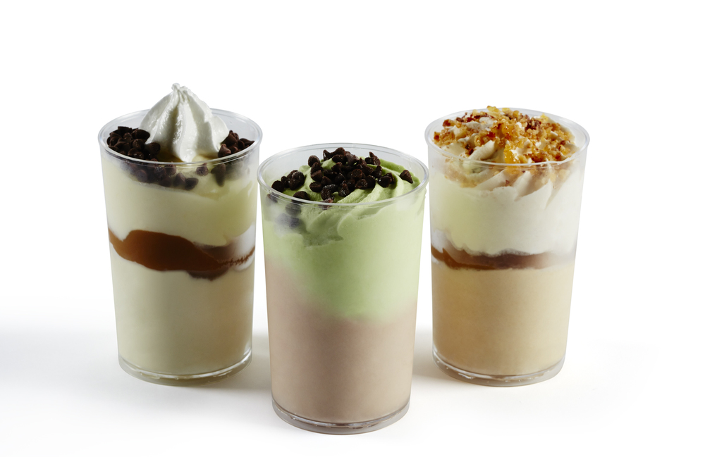 Semi-freddo Coppa's (Left-Right): Banoffee Semi-freddo | After Dinner Mint Demi-freddo | Salted Caramel & Almond Praline Semi-freddo