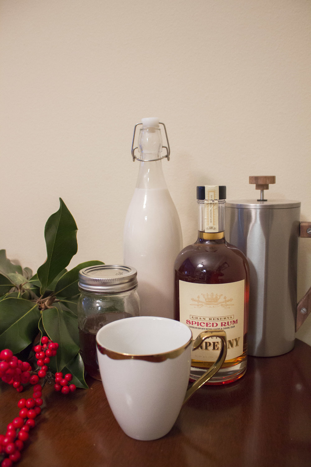 Christmas in a Cup - INGREDIENTS-coffee-spiced simple syrup-your choice of spiced rum (we used Tennpenny)-your choice of cream (we used almond milk)