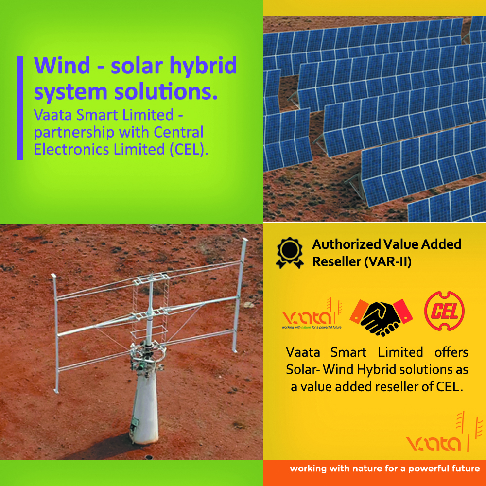 Vaata Smart Limited offers Solar- Wind Hybrid solutions as a value