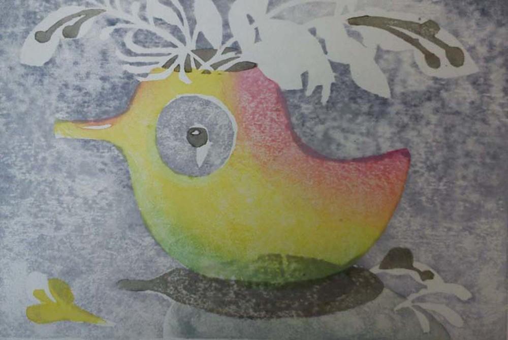 Bird jug wood cut