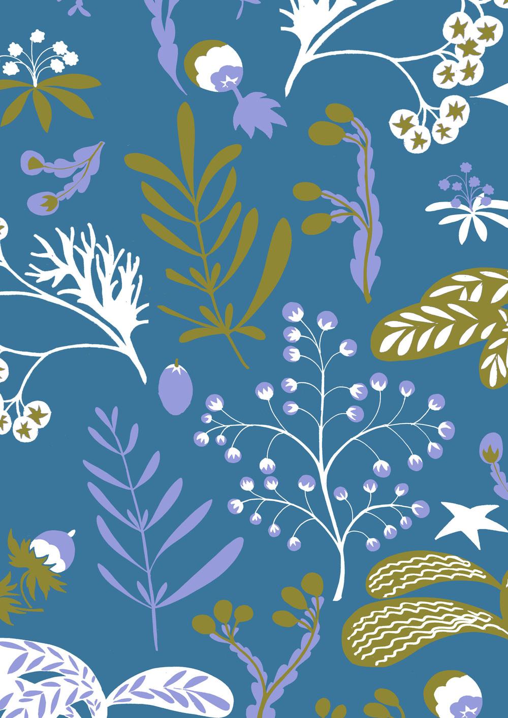 Interior print in blue
