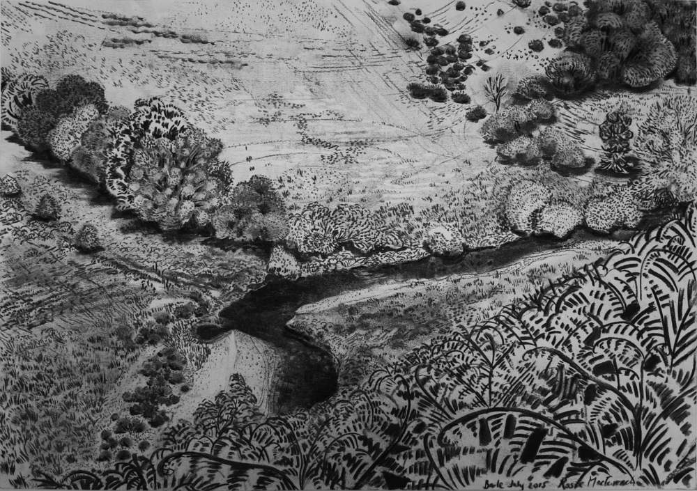 Barle Valley looking towards Bradymoor   charcoal on paper 42x59cm  SOLD
