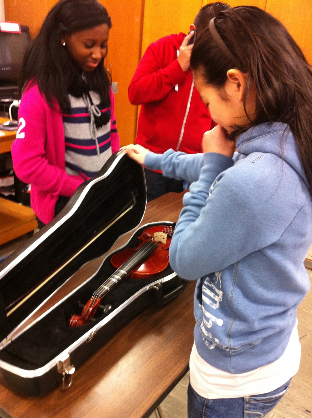 Rep Neal surprised one of the students on the Debate Team, and bought her a new violin!!