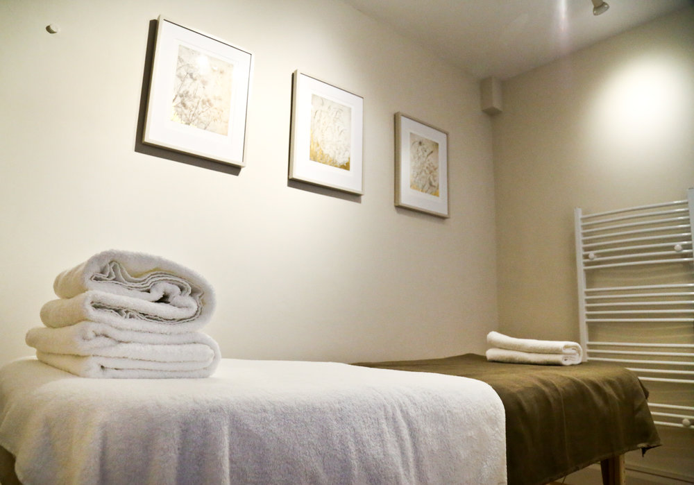 Our tranquil therapy room with original artwork