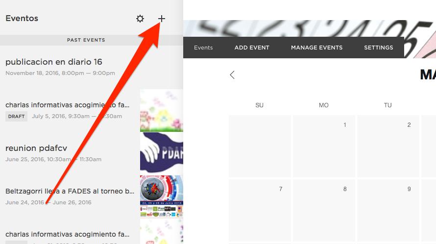 Pinchamos en el + para añadir un evento