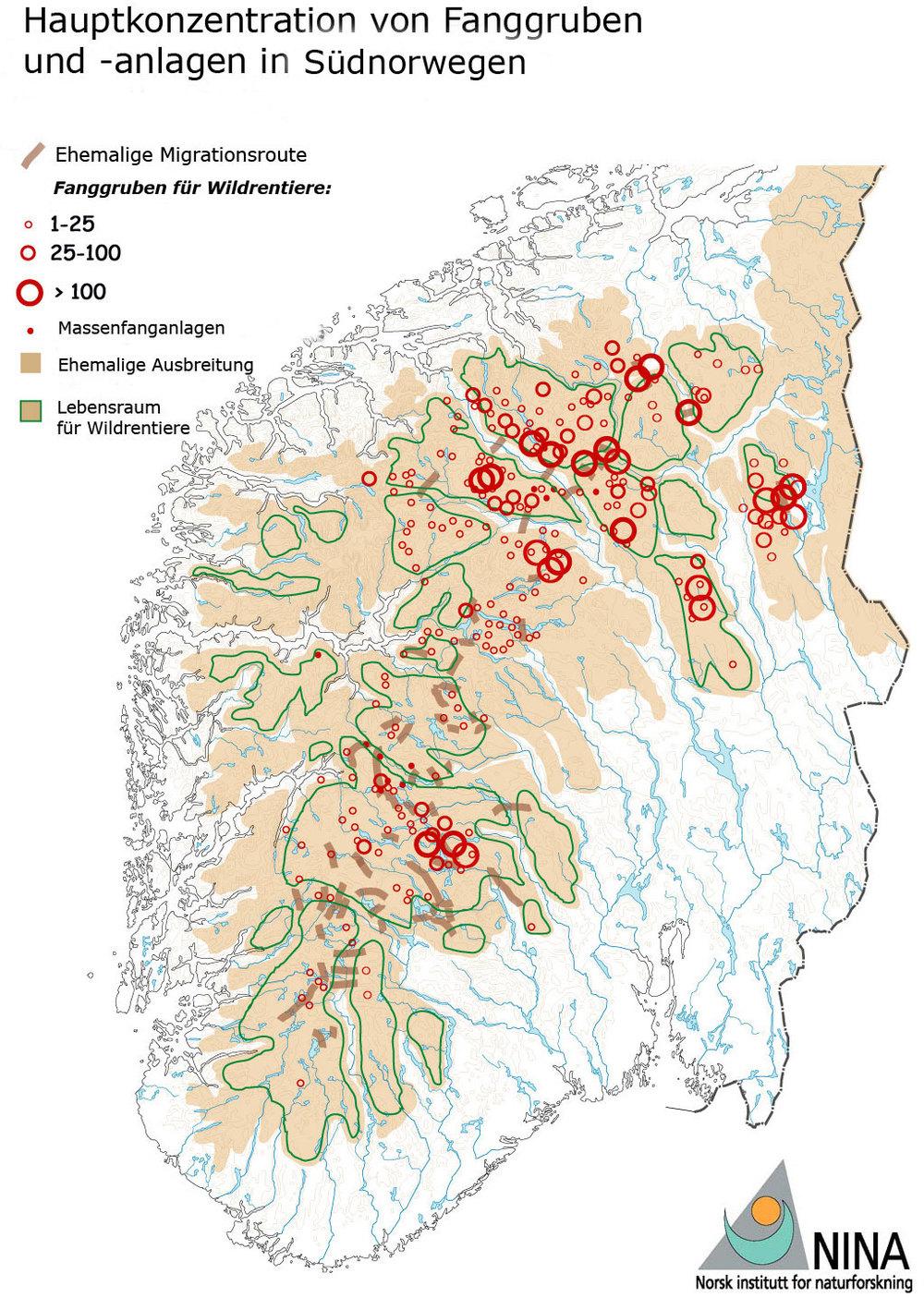 Kartierte Fanggruben und andere Fangsysteme in Südnorwegen. Frühere potentielle Lebensräume sind hellbraun gekennzeichnet (Gebirge).