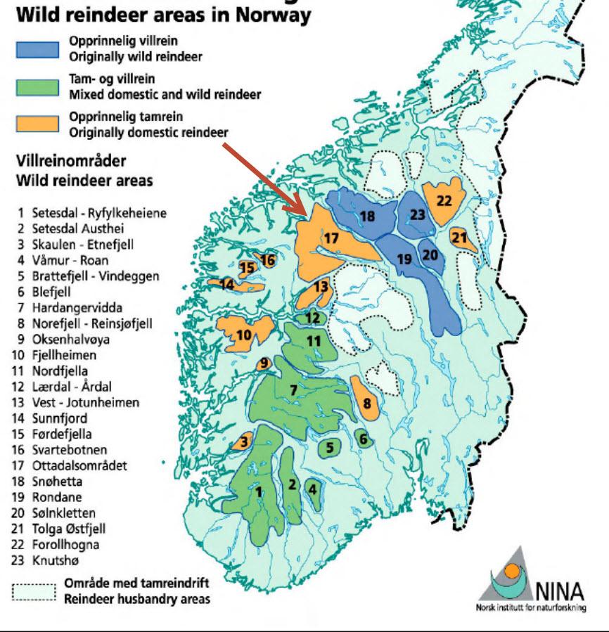 """Kartkilde: NINA Rapport 227, Villreinen i Ottadalsområdet. """"Reinheimen-Breheimen villreinområde"""" markert med rød pil (nummer 17)."""