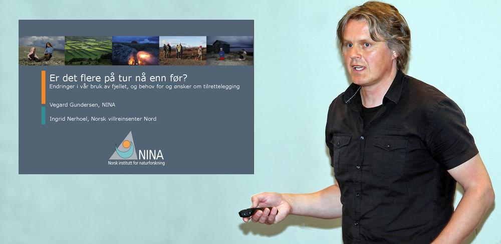 Vegard Gundersen fra NINA Lillehammer presenterte meget interessante tall angående folks bruk av fjellområdene de siste 40 årene, i sitt innlegg på fagseminaret i Øyer. Foto: A. Nyaas