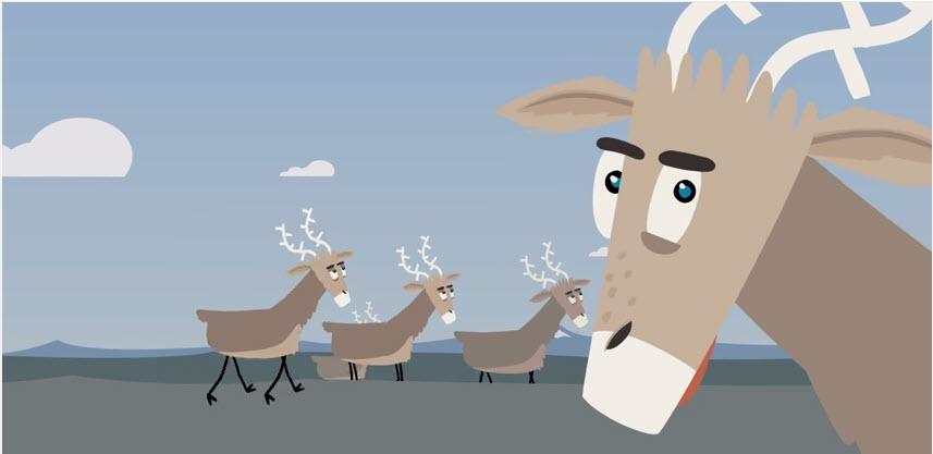 Villy Villrein møter barrierer på Dovrejfjell. Se animasjonsfilmen som Norsk institutt for naturforskning (NINA) har produsert.